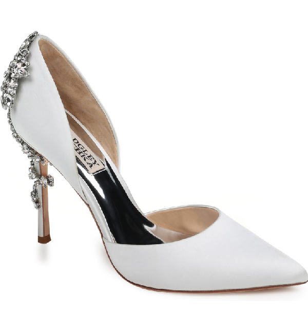Badgley Mischka Women's Vogue Pointed Toe Satin High-Heel Pumps In Soft White Satin