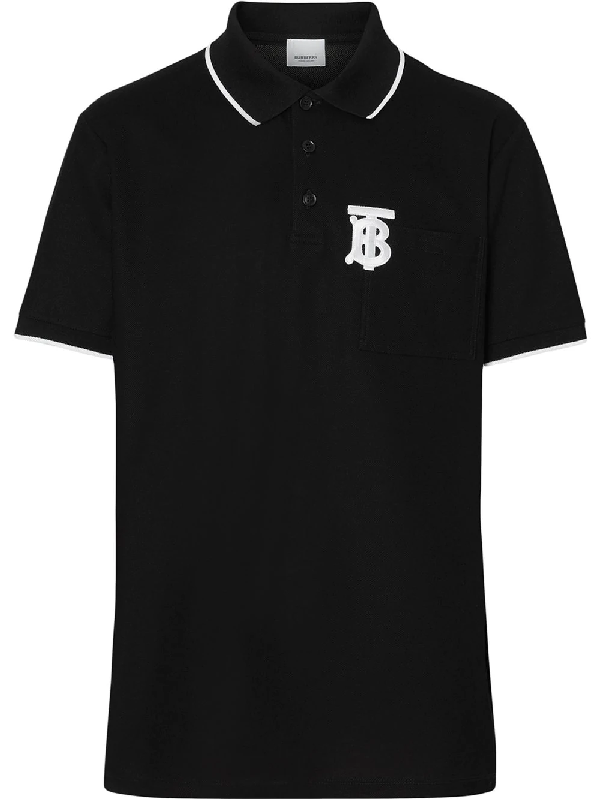 3ab23fdfbf5ecd Burberry Ogo-Embroidered Contrast-Tipped Cotton-PiquÉ Polo Shirt - Black