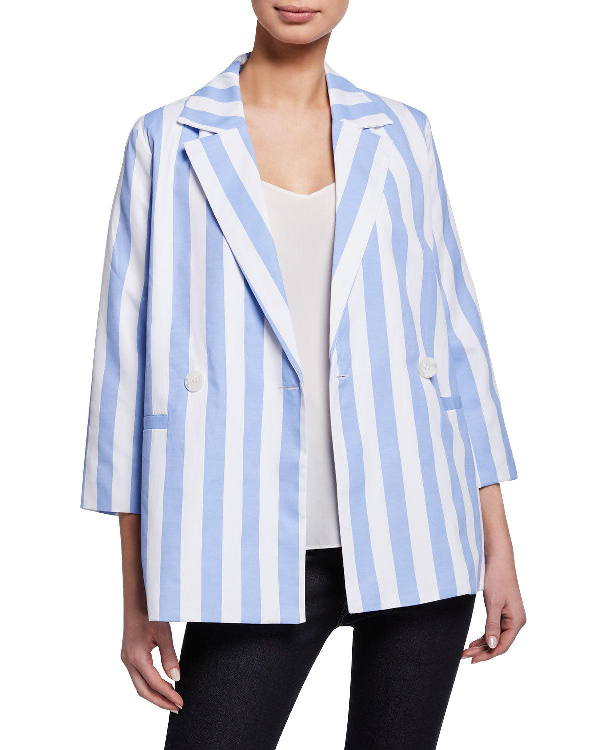 English Factory Relaxed Stripe Blazer In Blue