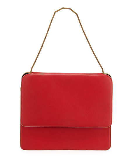 Marni Cache Chain-Strap Leather Shoulder Bag In Red