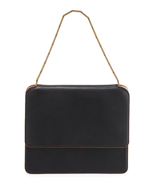 Marni Cache Chain-Strap Leather Shoulder Bag In Black