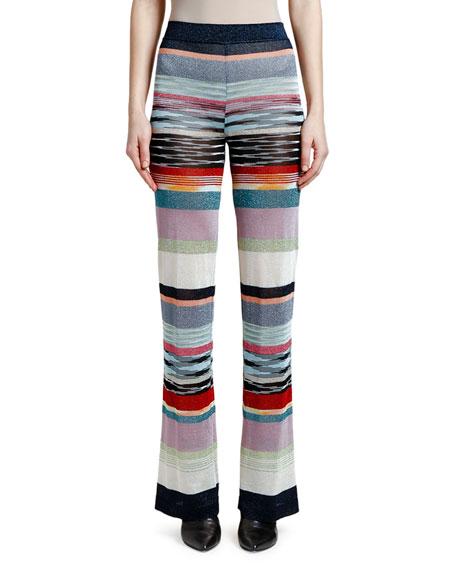 Missoni Shimmer-Striped Wide-Leg Pants In Blue Pattern