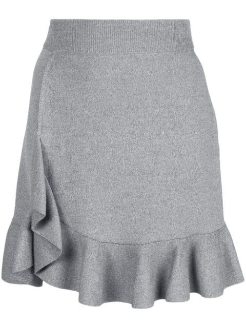 Altuzarra Ziggy Salt Pepper Peplum Mini Skirt In Stone Melange
