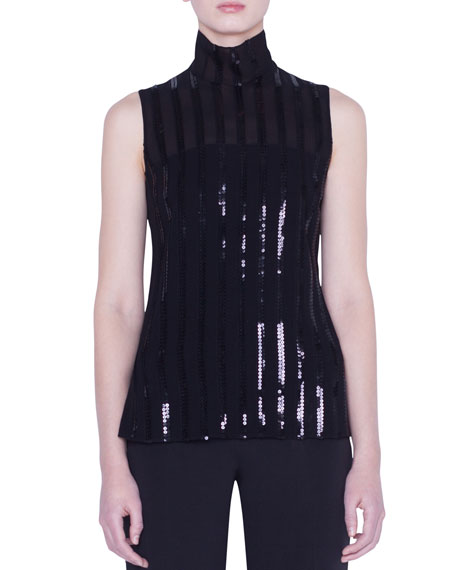 Akris Sequined Silk-Georgette Blouse In Black