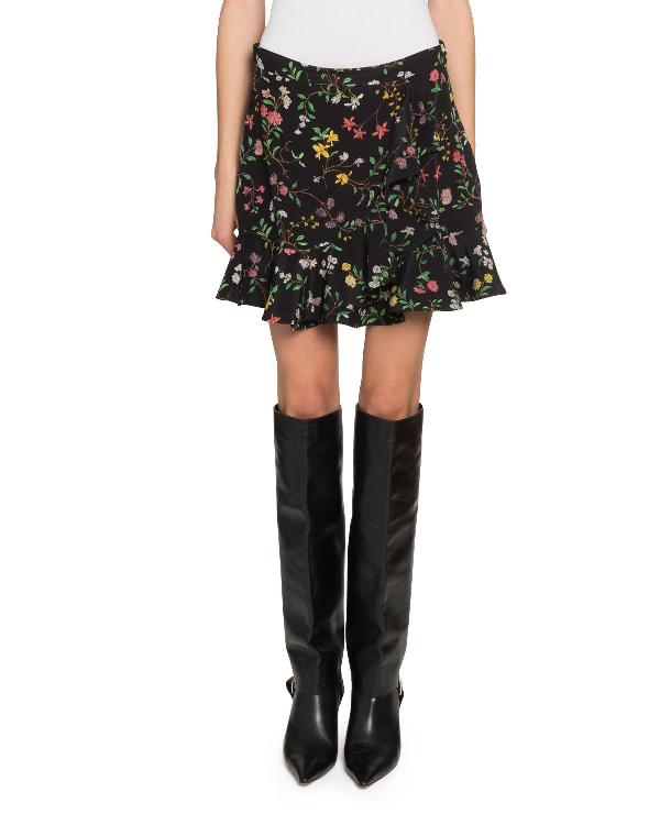 Altuzarra Pierrot Floral Peplum Mini Skirt In Black