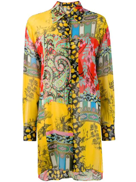 Etro Paisley Collage Chiffon Button-Front Tunic In Yellow