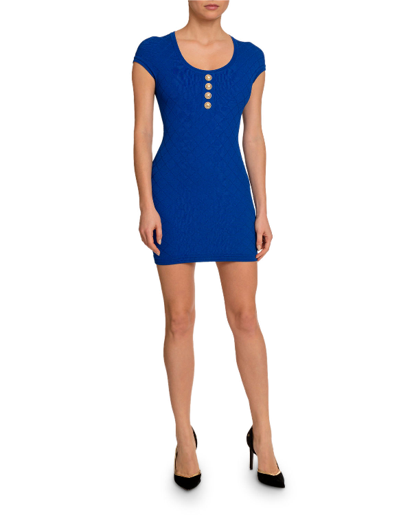 80774839 Balmain Diamond Knit Short-Sleeve Dress In Medium Blue | ModeSens