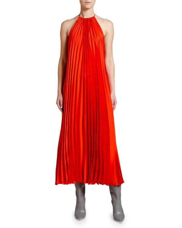 9f9714b76503d Stella Mccartney Pleated Halter-Neck Midi Dress In Red | ModeSens