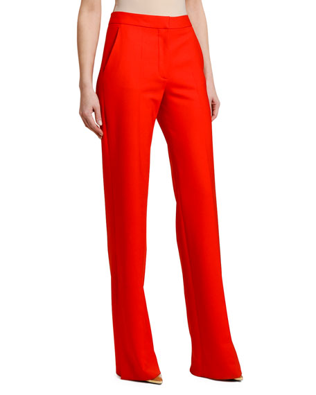 Stella Mccartney Wide-Leg Stretch-Wool Pants In Red