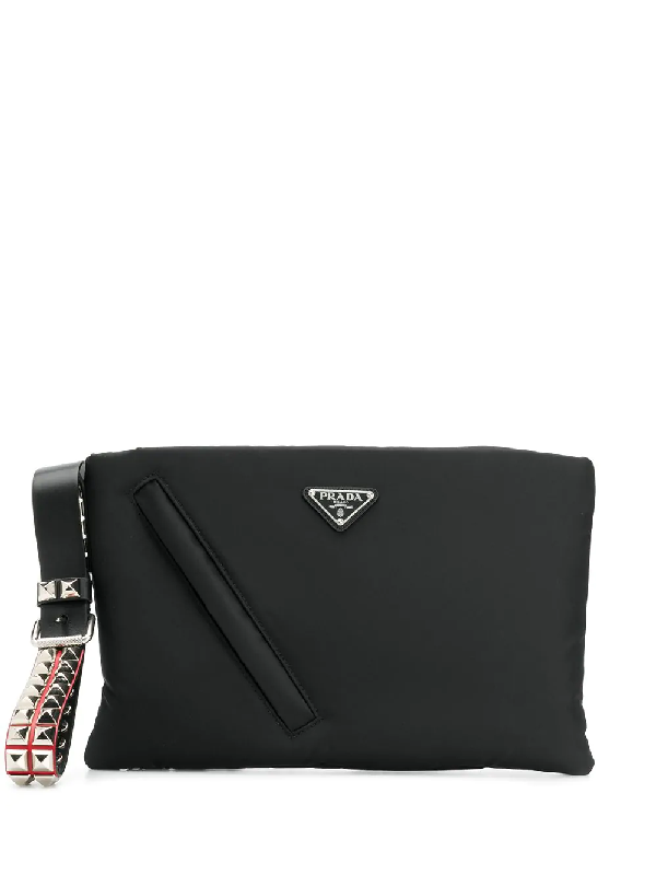 a6a9454c5fda Prada Logo Plaque Clutch - Black