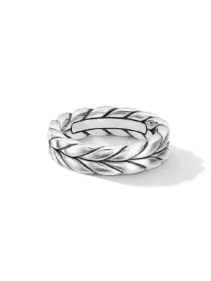 David Yurman Men's Sterling Silver Chevron Woven Band Ring
