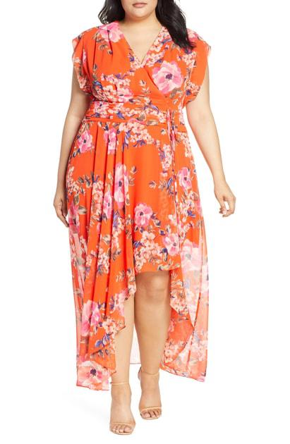 74832d45cf04 Eliza J Floral Print Chiffon High/Low Maxi Dress In Orange | ModeSens