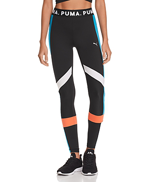 Puma Chase Color-Block Leggings In Black