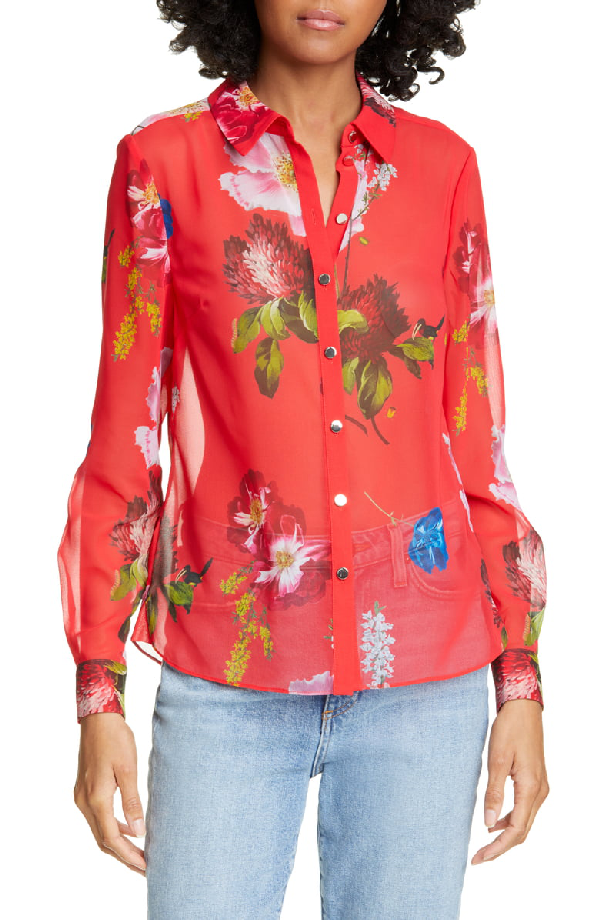 Ted Baker Eevilin Berry Sundae Floral Shirt In Red
