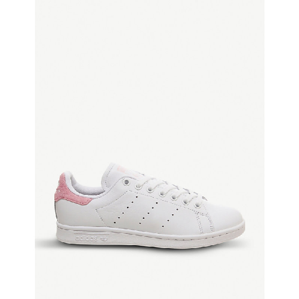 Adidas Originals Stan Smith Leather Trainers In White Pink Copper