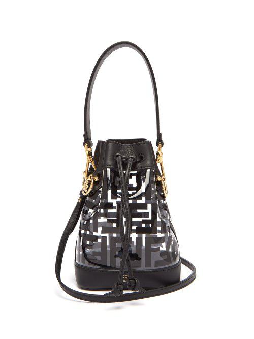 92a134200c2d Fendi Mon Tresor Logo-Print Leather   Pvc Bucket Bag In Black Multi ...