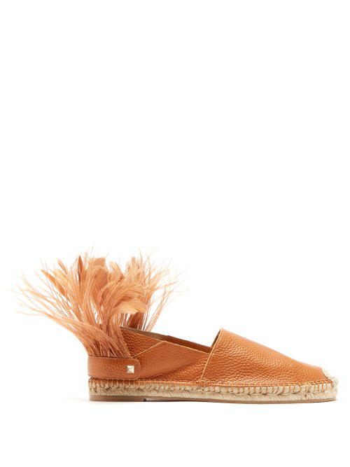 Valentino - Feather Strap Leather Espadrilles - Womens - Tan
