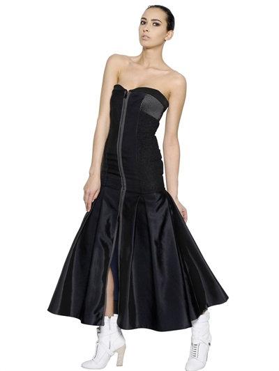 Fendi Strapless Bustier Techno Silk Dress In Midnight