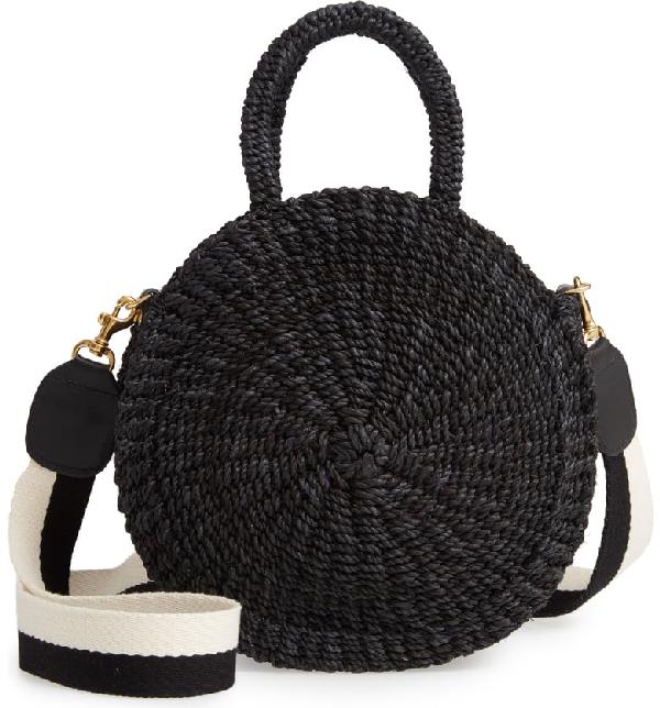 Clare V Moyen Alice Woven Sisal Bag In Black Black