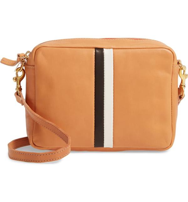 Clare V Midi Sac Leather Crossbody Bag/clutch In Rustic/ Black Cream Stripe