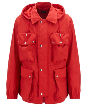 166a1d74d Hugo Boss Boss Men's Water-Repellent Hooded Jacket In Bright Red ...