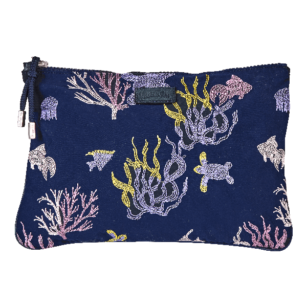 Vilebrequin Zipped Beach Pouch Coral And Turtles In Blue