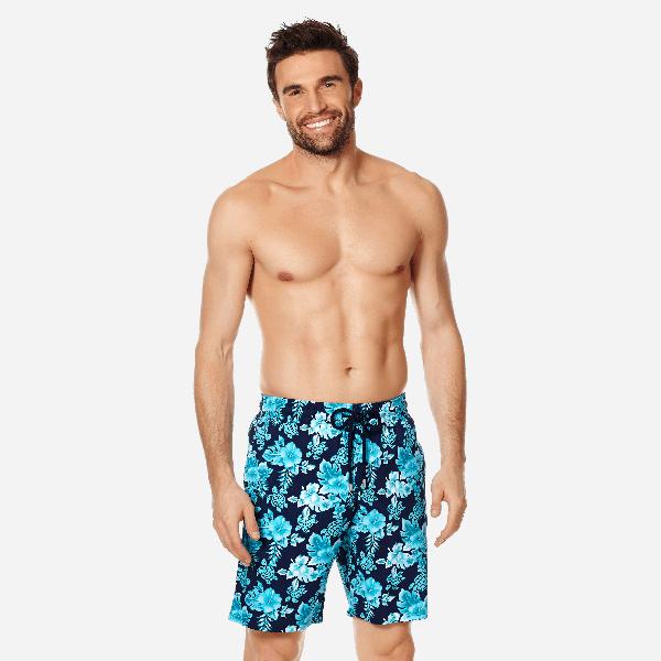 Vilebrequin Men Swimwear Long Stretch Turtles Flowers In Blue
