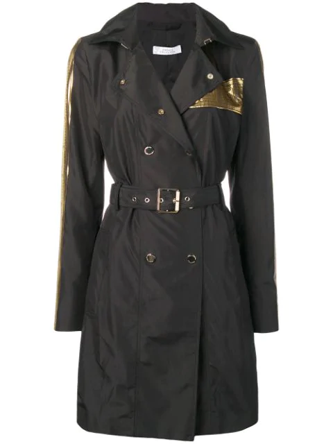 Versace Double Breasted Raincoat In Black