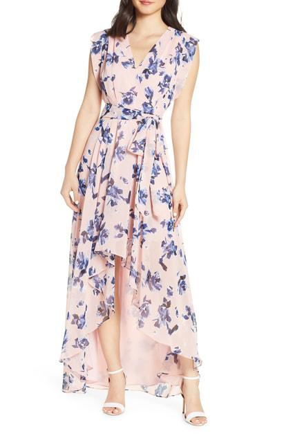 b1ceabafde Eliza J Floral Chiffon High Low Dress In Blush