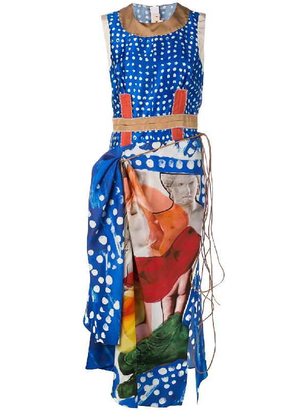 fc464f197eb91c Marni Sleeveless Printed Silk Midi Dress In Blue