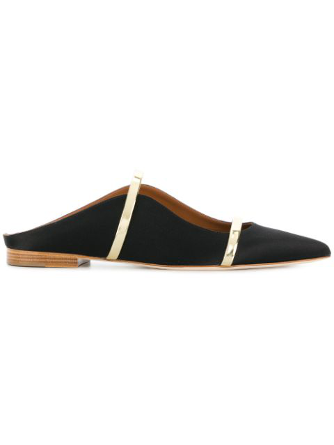 Malone Souliers Maureen Metallic Leather-trimmed Satin Point-toe Flats In Black