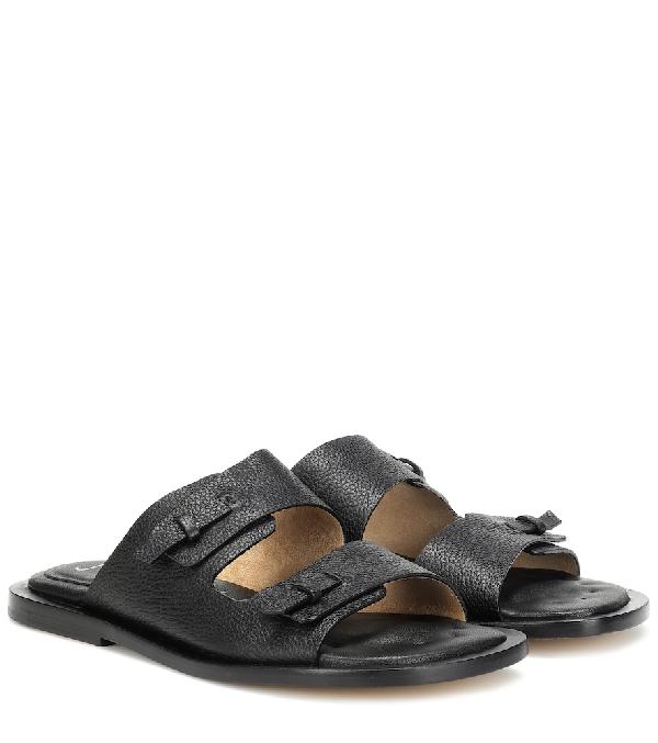 Joseph Leather Slides In Black