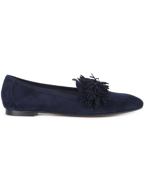 Aquazzura Wild Thing Fringed Suede Loafers In Blue