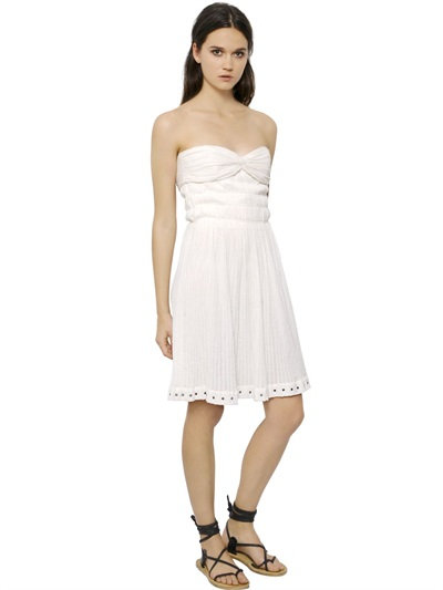 Isabel Marant Strapless Cotton Gauze Bustier Dress In Off White