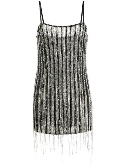 Amen Embellished Fringe Mini Dress In Black