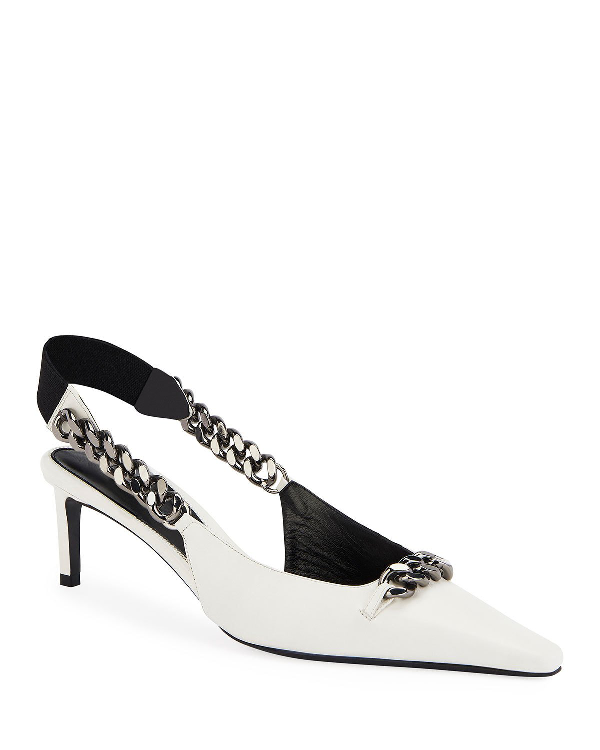 Tom Ford Pointed Slingback Pumps With Chain In White