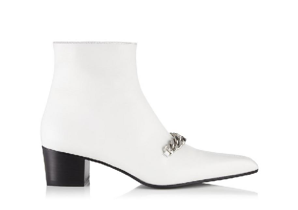Tom Ford Leather Chain Ankle Booties In Chalk