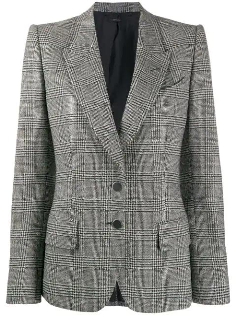 Tom Ford Prince Of Wales Wool Tailored Jacket In Black