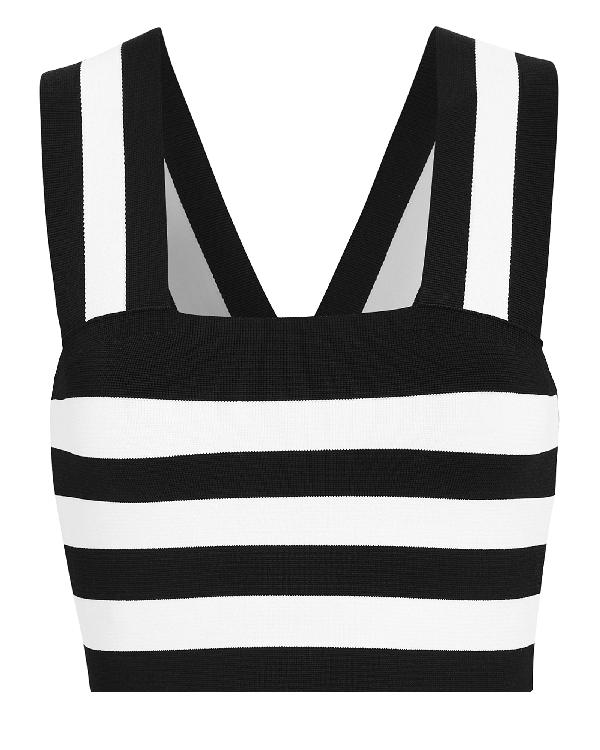 9c40ce4079063 A.L.C Tia Striped Sleeveless Crop Top In Black,White   ModeSens
