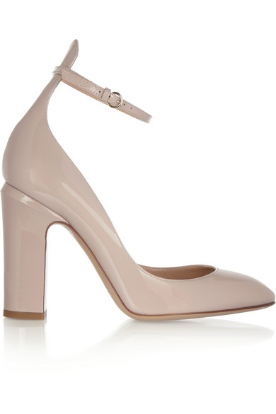 Valentino Patent Tango Ankle-Strap Pumps In Grey
