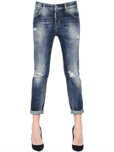 Dsquared2 Cool Girl Washed & Patched Denim Jeans, Blue