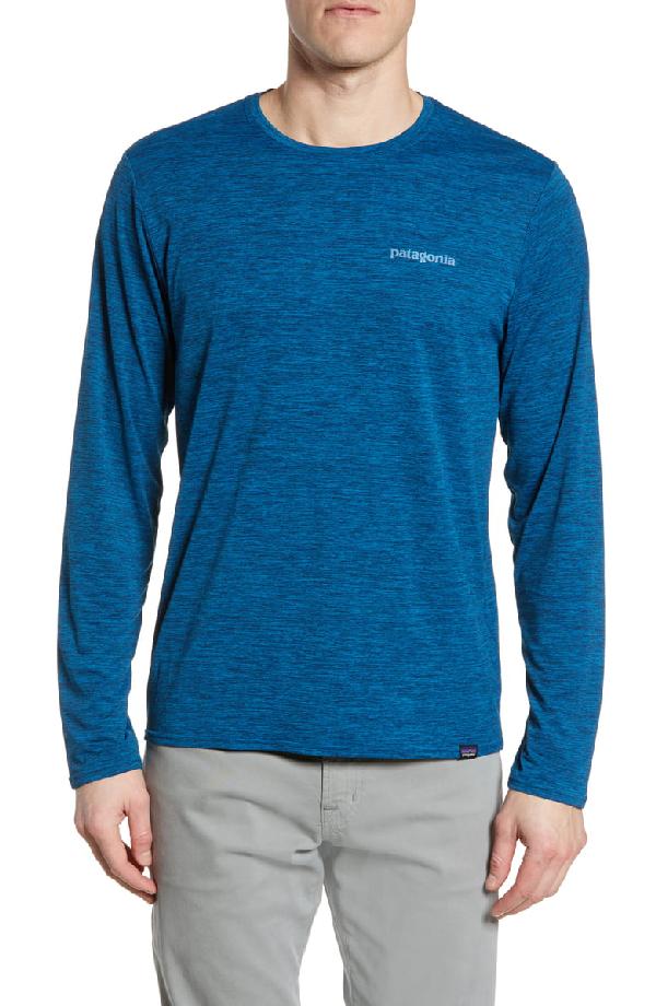 Patagonia Capilene Cool Daily Long Sleeve T-Shirt In Big Sur Blue Crossdye