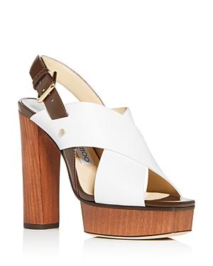 Jimmy Choo Women's Aix 125 High Block-Heel Platform Sandals In Latte Mix