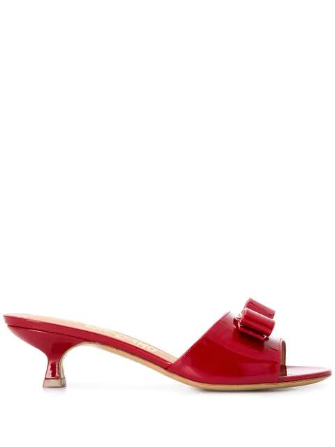 Salvatore Ferragamo Women's Ginostra Patent Leather Kitten-Heel Sandals In 705534 Rosso
