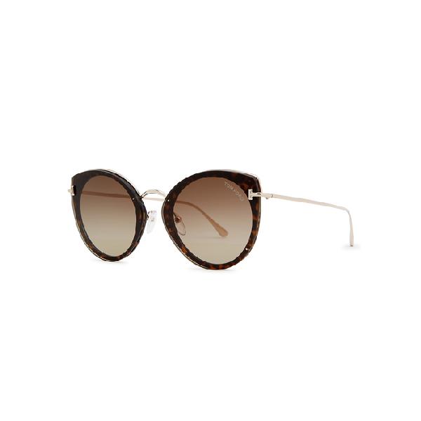 Tom Ford Jess Tortoiseshell Round-frame Sunglasses In Havana