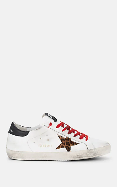 Golden Goose Superstar Leather & Calf Hair Sneakers In White