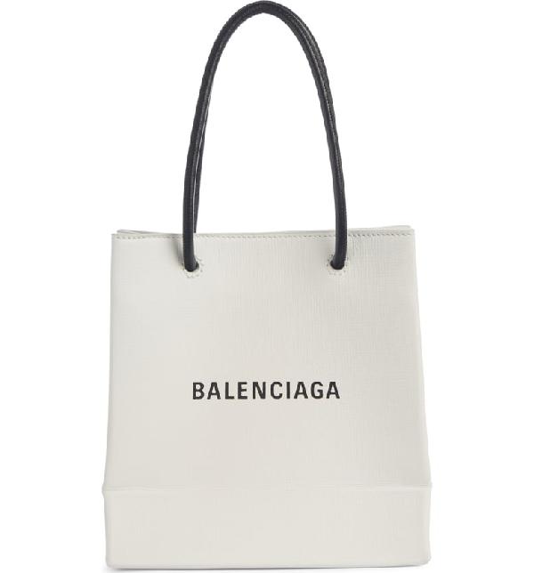 Balenciaga Extra Extra Small Aj Calfskin Shopper Tote - White