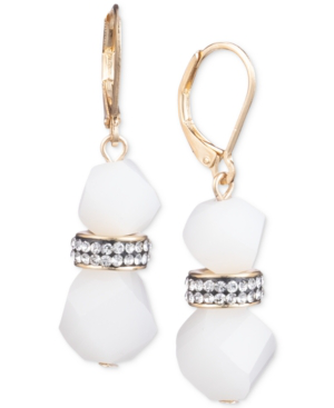 da759b6c9 Anne Klein Faceted Bead & Crystal Drop Earrings, Created For Macy's In White