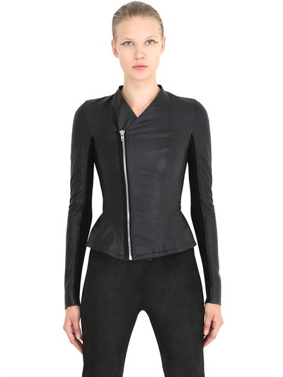 Rick Owens Glass Ice Biker Nappa Leather Jacket In Black