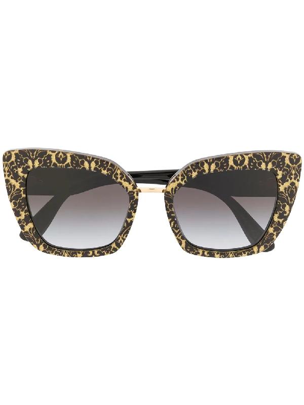 96f2b9ae596b Dolce   Gabbana Eyewear Printed Cat Eye Sunglasses - Black. Farfetch